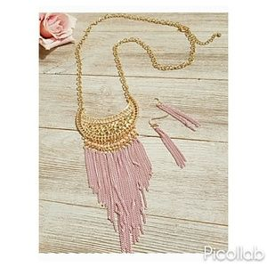 Jewelry - Gold Crescent with Pink Chain Fringe Necklace Set